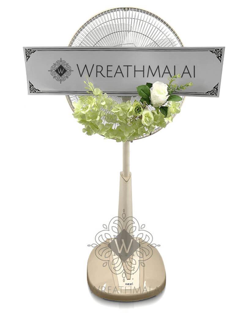 WF086  พวงหรีดพัดลมประดับดอกไม้ ตั้งพื้น ยืดได้ Hatari 16 นิ้ว จัดดอกไม้ครึ่งวง