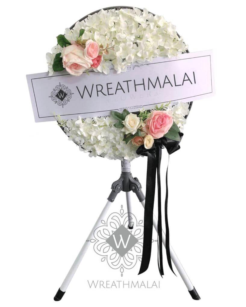 WF090 พวงหรีดพัดลมอุตสาหกรรม 18 นิ้ว ใบพัดเหล็ก แข็งแรง ดอกไม้เต็มวง+ โบว์ดำ