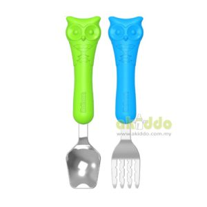 Edison Owl Spoon & Fork Case Set for Baby