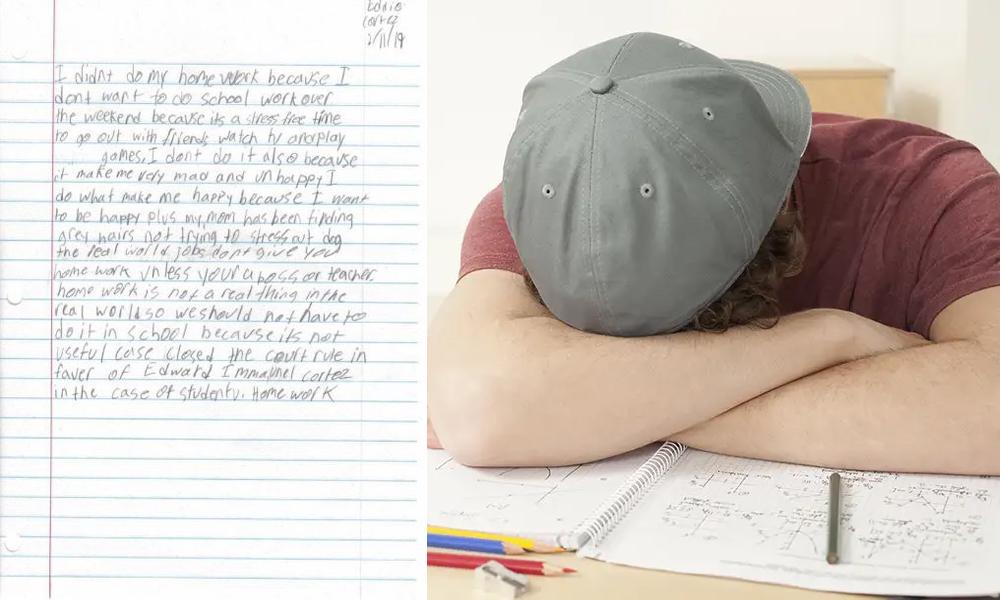 Tak Mau Stres dan Beruban, Bocah Ini Enggan Kerjakan PR-nya