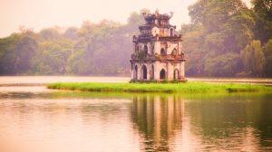turtle tower di danau hoan kiem