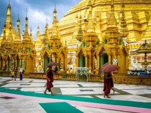 Monks Shwedagon Pagoda Yangon Myanmar ooaworld Rolling Coconut