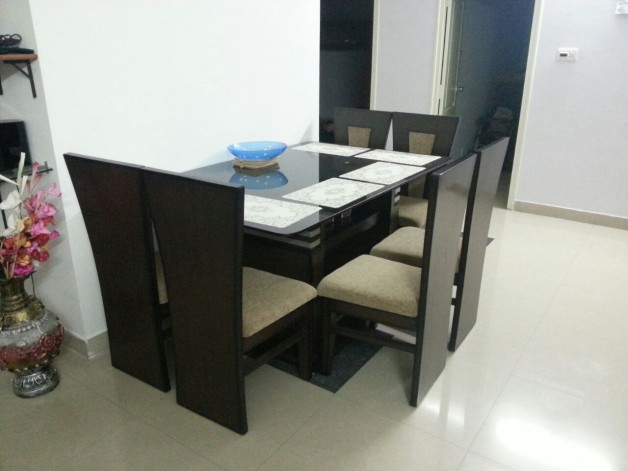Glass Top Teak Wood Dining Table