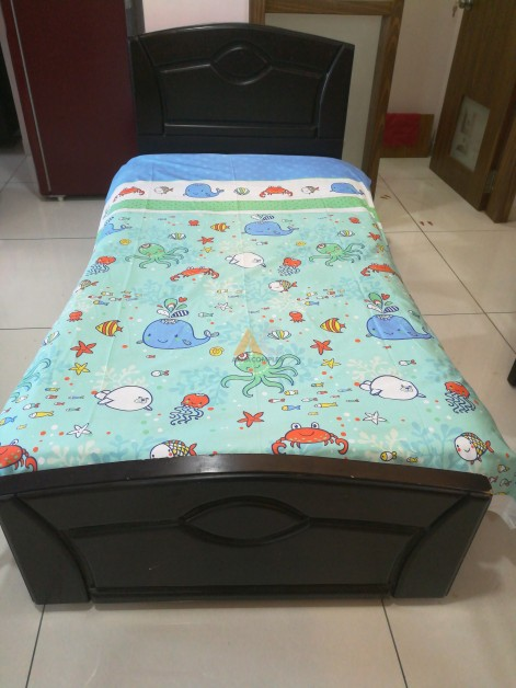 Single Cot With Storage Box Teak Wood Made For Sale