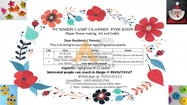 Summer Camp Classes For Kids Art Craft Paper Flower Making