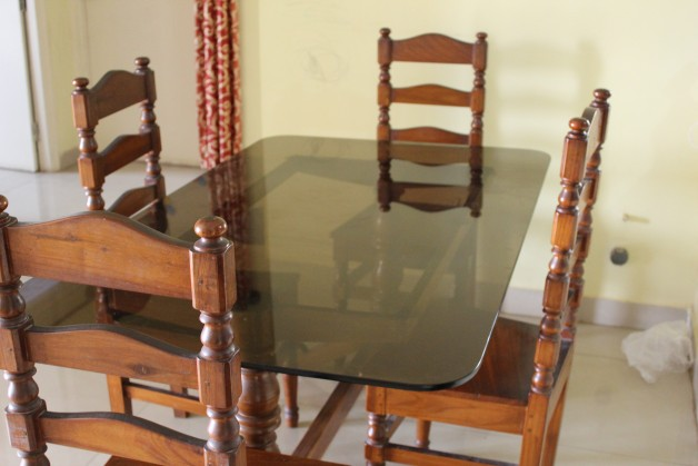 Glass Top Wooden Dining Table With 4 Chairs For Sale Bangalore Price 12000 Posted BySumit Ray