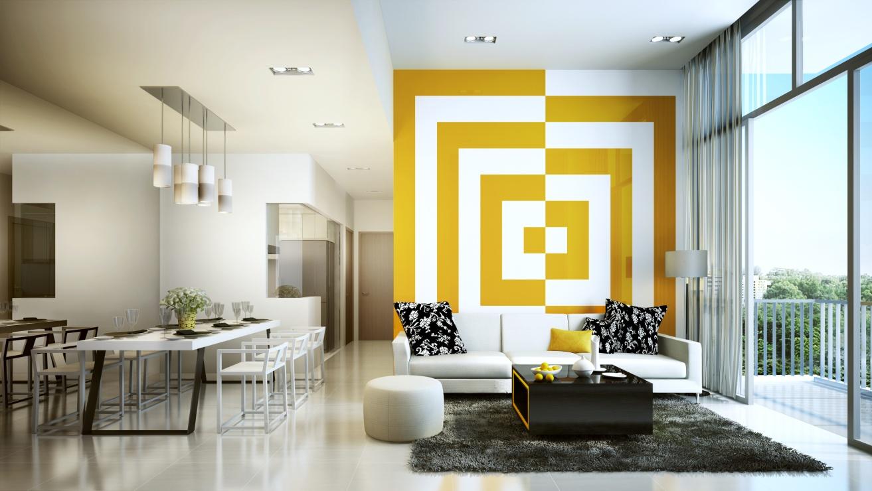 karya seni ruang tamu modern sumber