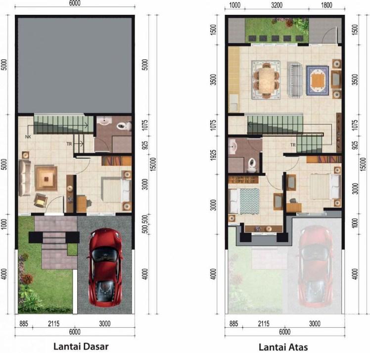 Contoh Denah Rumah Persegi Panjang model desain tampak depan rumah minimalis 2 lantai yang