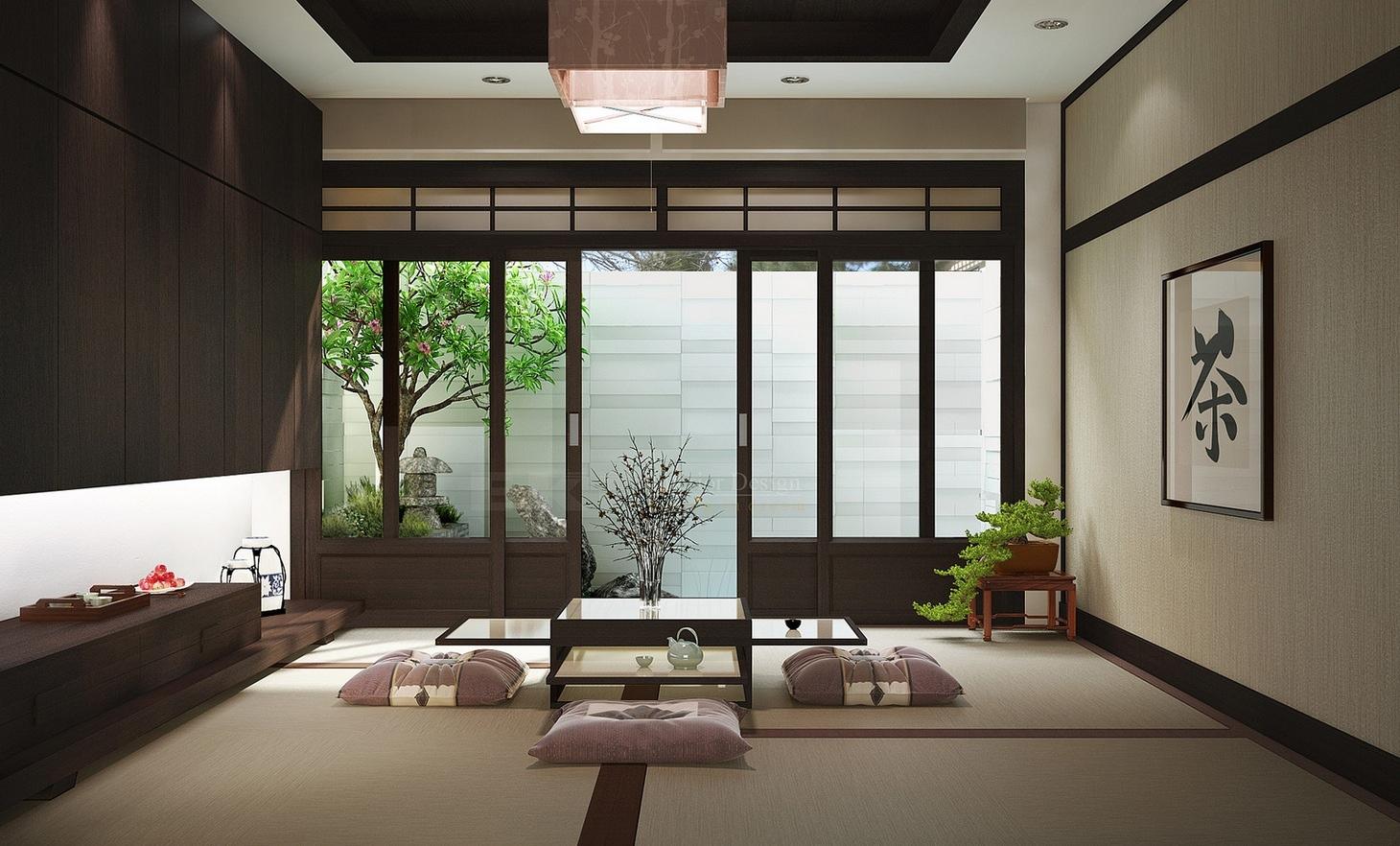 Desain ruang tamu tanpa kursi [Sumber: home-designing.com]