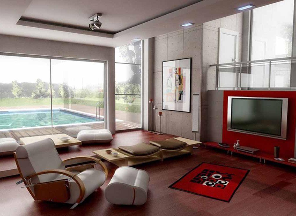 Dekorasi ruang tamu tanpa sofa dengan home theater [Sumber: dogalzirve.org]