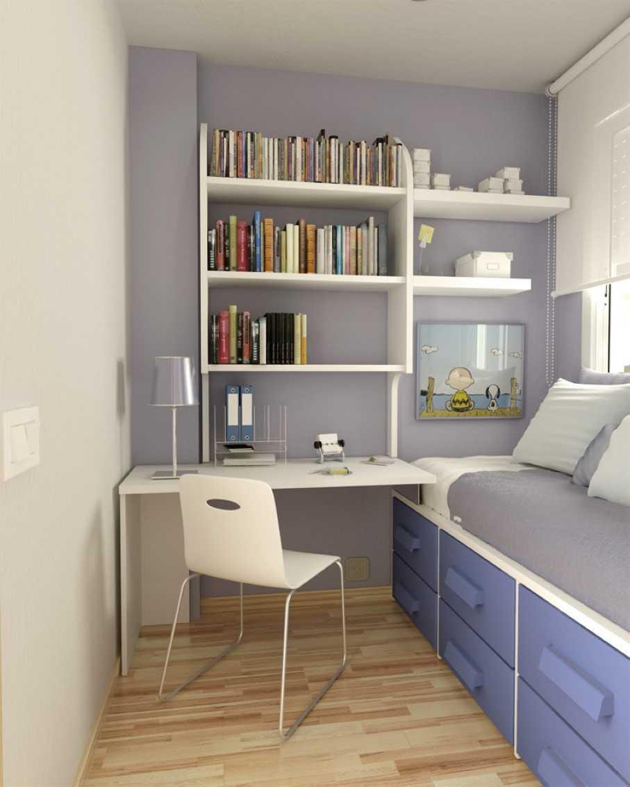 Rak dinding di kamar tidur kecil (Sumber: chatodining.com)