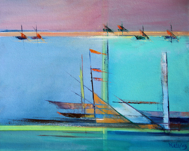 Lakeer, Natu Parikh, By The Sea, 2013. Oil  on Canvas, 16 X 20 inch. S$450. Image courtesy of the artist.