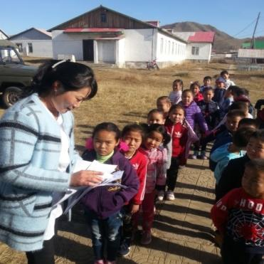 School screening in Mongolia