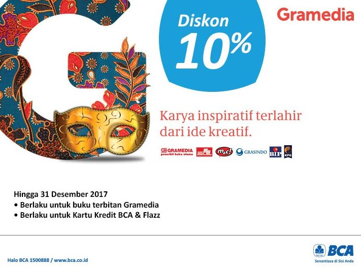 10% discount with the BCA of Gramedia