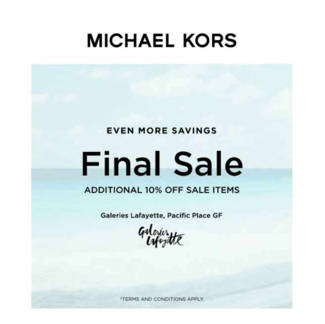 Additional Discount 10% from Michael Kors at Galleries Lafayette