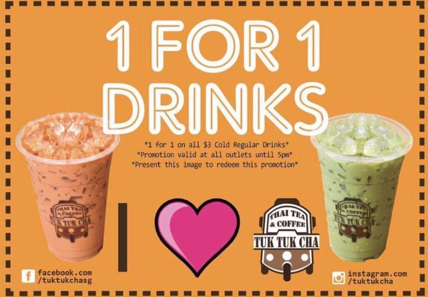 1-For-1 Drinks at Tuk Tuk Cha