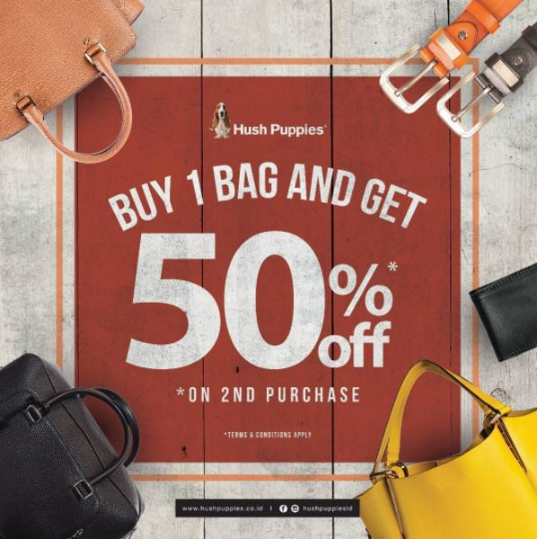 Discount 50% for 2nd Purchasing at Hush Puppies