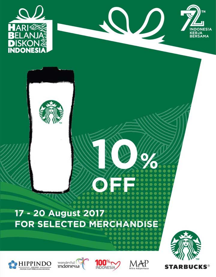 Discount 10% for Mechandise from Starbucks Coffee