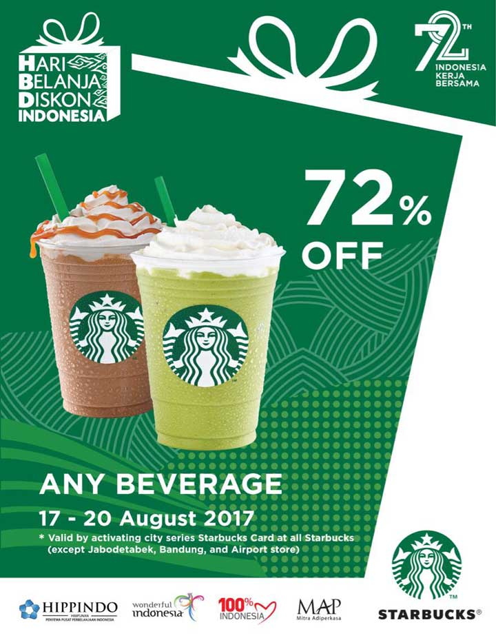 Discount 72% from Starbucks Coffee