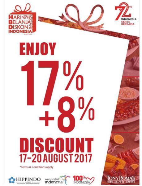 Discount 17% + 8% from Tony Roma's