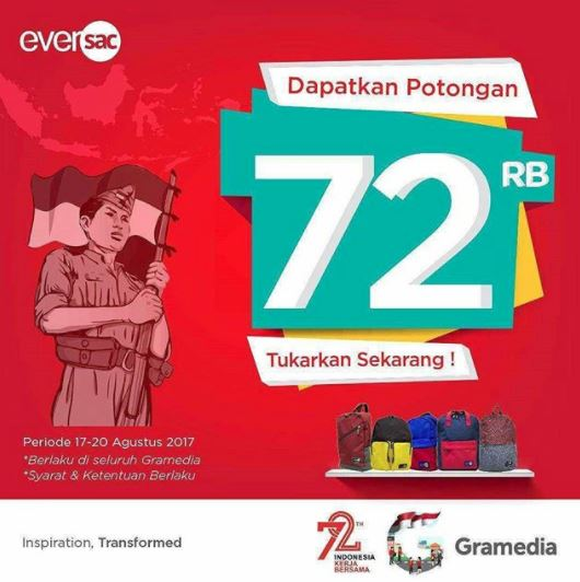 Discount Price Rp 72.000 for Eversac Bag in Gramedia