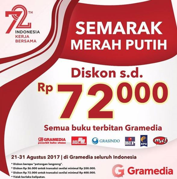 Discounts up to Rp 72,000 from Gramedia