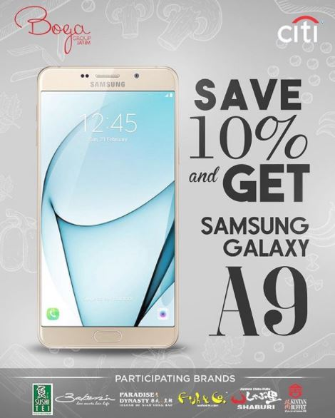 Discount 10% and Samsung Galaxy A9 from Sushi Tei