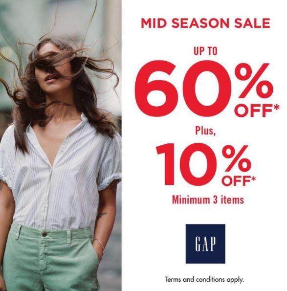 Mid Season Sale Up to 60% from GAP Lippo Mall Puri