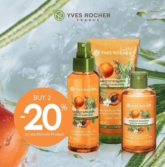 Discount  20% Les Plaisirs Nature Apricot Rosemary from Yves Rocher
