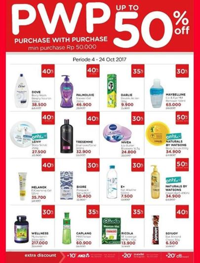 PWP up to 50% from Watsons