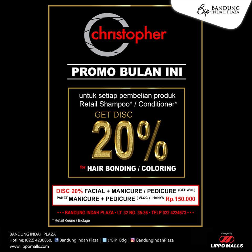 Discount 20% from Salon Christopher at Bandung Indah Plaza