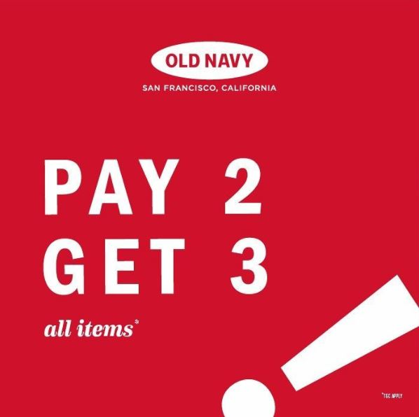 Pay 2 Get 3 from Old Navy