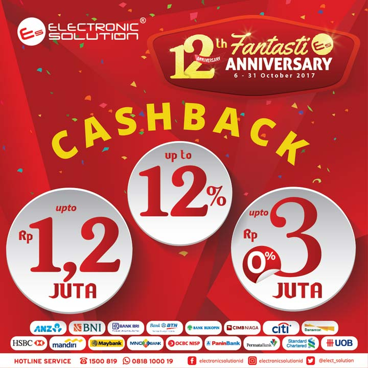 Cashback Up to 12% from Electronic Solution