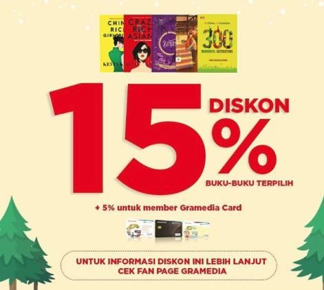 Discount 15% for Book from Gramedia