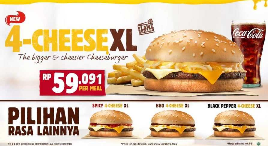 Promo 4 Cheese XL at Burger King