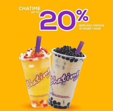 Get Discount Up to 20%  from Chatime