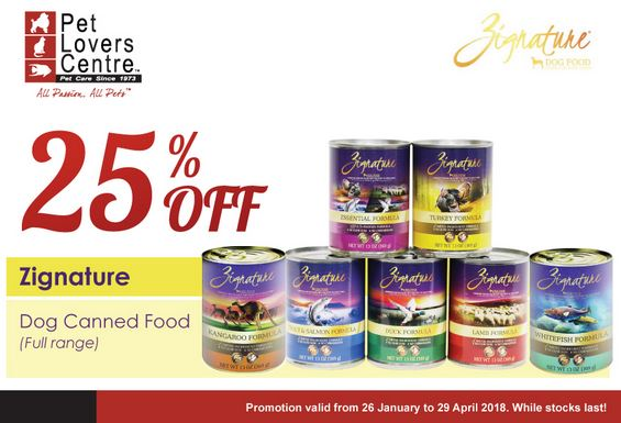 Zignature Dog Canned Food Promotion at Pet Lovers Centre