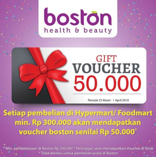 Promo Free Voucher Rp 50.000 from Boston