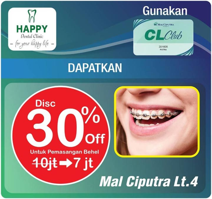 Discount 30% from Happy Dental Clinic