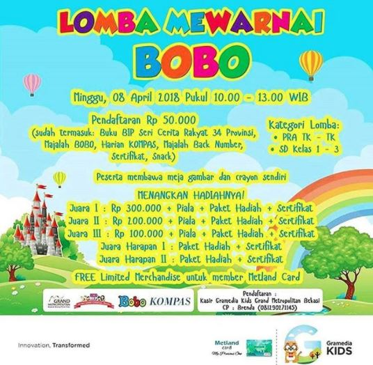 Coloring Contest BOBO At Gramedia Metropolitan Mall Bekasi
