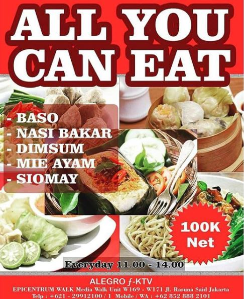 All You Can Eat Promo from Alegro F-KTV on Epicentrum Walk