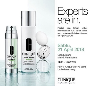 Experts Are In Clinique at  SOGO Mall @Alam Sutera