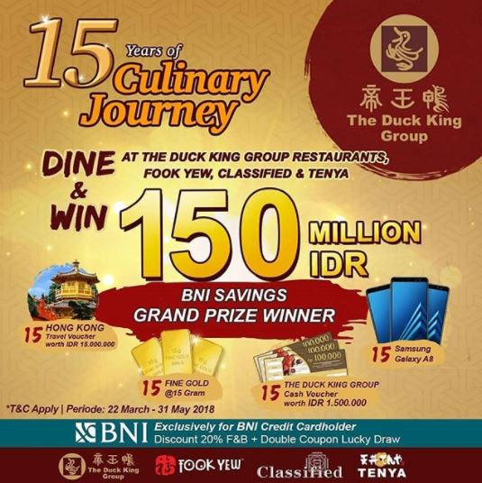 Special Promo 15 Years of Culinary Journey at The Duck King</h3>