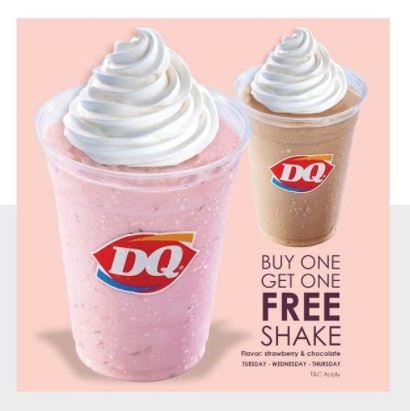 Buy 1 Free 1 Milk Shake from Diary Queen