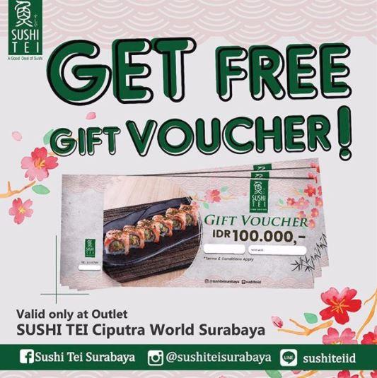 Free Gift Voucher Rp 100.000 from Sushi Tei at Ciputra World Surabaya