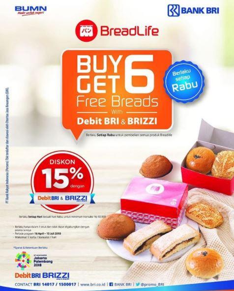 Buy 6 Get 6 Free dan Diskon 15% dari BreadLife