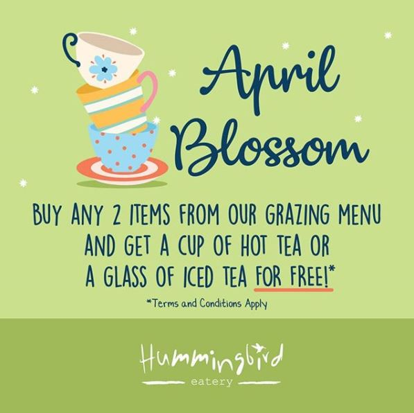 Free Drinks Promotions from Hummingbird Eatery
