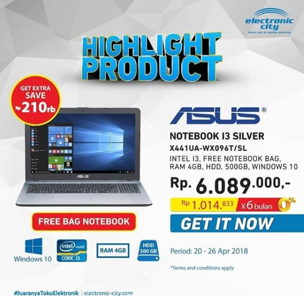 Notebook Asus X441UA Promotion at Electronic City