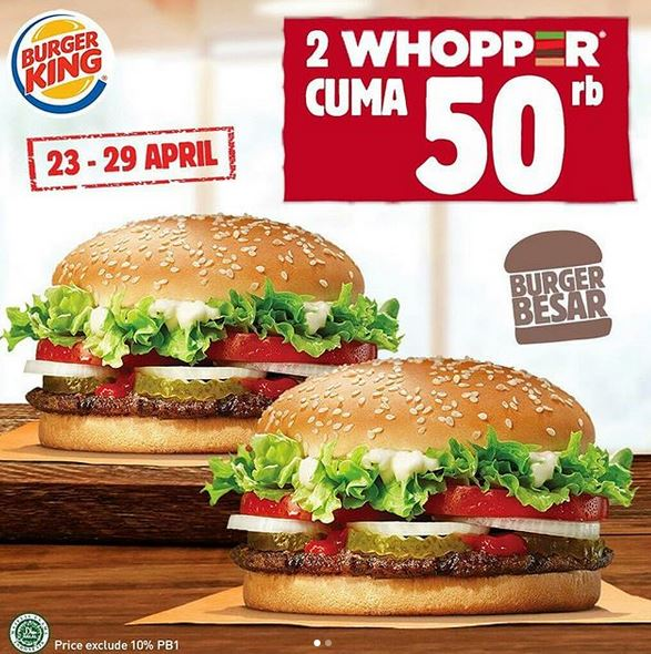 Special Price 2 Whopper Rp 50.000 at Burger King
