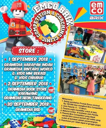 emco brick competition and coaching clinic at gramedia kids -